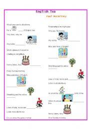 English Worksheet: English tea