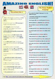 English Worksheets: AMAZING ENGLISH! fun set 2 pages
