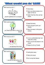 English Worksheet: What would you do if... ? set 1