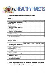 HEALTHY HABITS QUESTIONNAIRE - ESL worksheet by jagüero