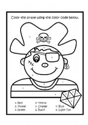 English worksheet: Color By Number Pirate Boy
