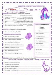 English Worksheet: PRESENT PERFECT CONTINUOUS 2 PAGES WITH EXERCISES