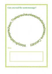 English Worksheets: saint patrick. secret message