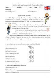English Worksheets: evaluation 6th grade1