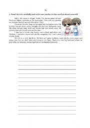 English Worksheets: evaluation 6th grade4