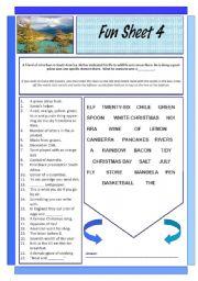 English Worksheets: Fun Sheet 4