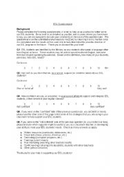 English Worksheets: Teacher Questionnaire