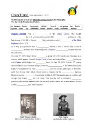 English Worksheets: CRAZY HORSE biography-fill in