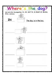 English Worksheet: Where�s the dog?