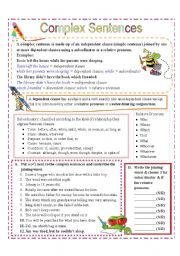 English Worksheet: Complex Sentences  with Subordinators and Relative Pronouns