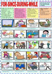 English Worksheets: FOR - SINCE- DURING - WHILE