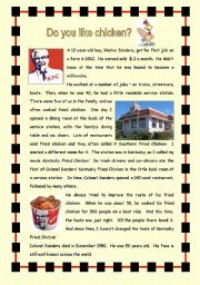 English Worksheet: Do you like chicken?  The history of Kentucky Fried Chicken