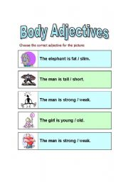 English Worksheets: Body Adjectives