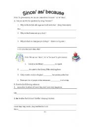 English Worksheets: since /as/because