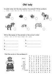 English Worksheets: old lady animals order