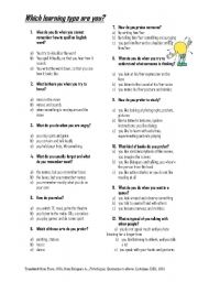 English Worksheets: Which learning type are you?
