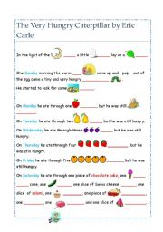 English Worksheet: The Very Hungry Caterpillar  -Cloze exercise