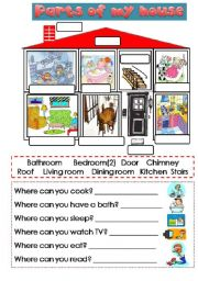 English Worksheet: parts of the house 2/2