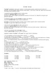 English Worksheets: in case-so that