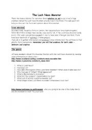 English Worksheet: Loch Ness Monster - investigating the truth
