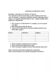 Printables Connotation And Denotation Worksheets denotation and connotation activity