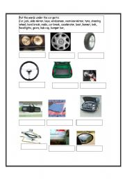 English Worksheet: Car parts vocabulary