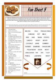 English Worksheet: Fun Sheet 5