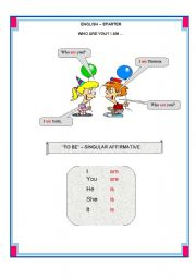 English Worksheets: English- Starter Lesson One
