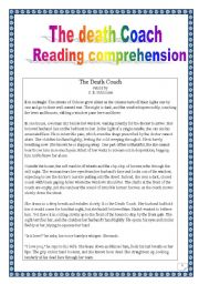 English Worksheet: reading comprehension: the death coach (11 pages, multi-task project)