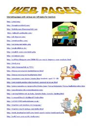 English Worksheet: WEB PAGES FOR TEACHERS