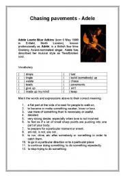 English Worksheets: Chasing pavements - Adele - Song
