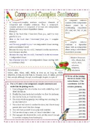 image regarding Free Printable Worksheets on Simple Compound and Complex Sentences named Material Complicated Sentences - ESL worksheet via missola