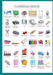English Worksheet: Classroom objects