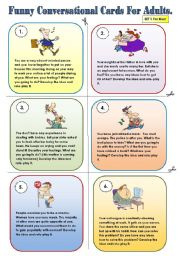 English Worksheets: FUNNY CONVERSATIONAL CARDS FOR ADULTS - 2 pages for men and women