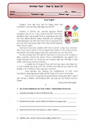 English worksheet: written test (4 pages) about fast food/ healthy/ unhealthy food