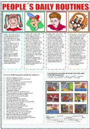 English Worksheet: PEOPLE�S DAILY ROUTINES