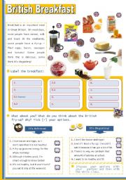 English Worksheet: British Breakfast  - for Elementary or Lower Intermediate students