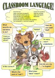 English Worksheet: CLASSROOM LANGUAGE POSTER!