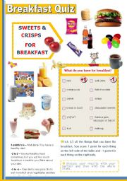 English Worksheet: Breakfast Quiz  - Students find out how (un) healthy  their breakfast is