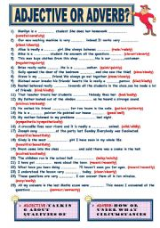 Printables Adjective Or Adverb Worksheet english teaching worksheets adjective or adverb adverb
