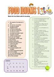 English Worksheet: FOOD IDIOMS parts 1, 2 and 3 : 5 PAGES (3 MATCHING exercises, food idioms QUIZ  with answer key)