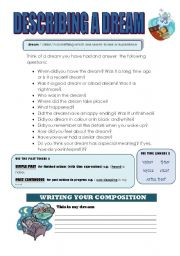 English Worksheets: DESCRIBING A DREAM WORKSHEET (WRITING GUIDE)