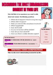 English Worksheets: DESCRIBING THE MOST EMBARRASSING MOMENT IN YOUR LIFE (WRITING GUIDE)