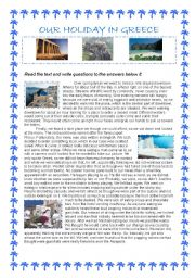 English Worksheet: Our Holiday In Greece - reading comprehension