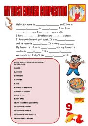 English Worksheet: MY FIRST ENGLISH COMPOSITION (GUIDED WRITING for beginners)