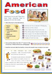 English Worksheet: American Food   - upper elementary or lower intermediate students.