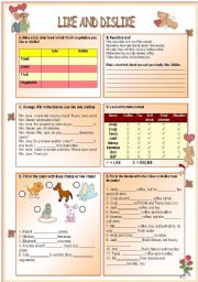 English Worksheets: Like and dislike