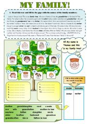 English Worksheet: GREAT FAMILY SET!  for elementary and pre-intermediate students- 2 pages + B&W FAMILY PROJECT WORKSHEET!