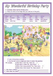 English Worksheet: MY WONDERFUL BIRTHDAY PARTY