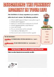 English Worksheets: DESCRIBING THE FUNNIEST MOMENT IN YOUR LIFE (WRITING GUIDELINE)